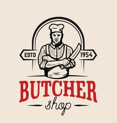 Butcher with knife design element for emblem sign vector