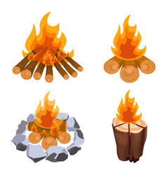 camping bonfire from tree trunks vector image