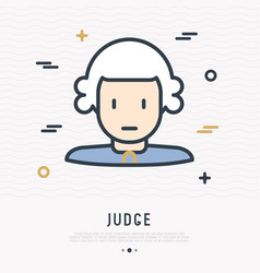 cartoon judge in wig thin line icon vector image