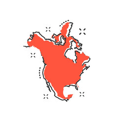 cartoon north america map icon in comic style vector image