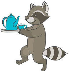 Cartoon raccoon carries tray of tea and teacup vector