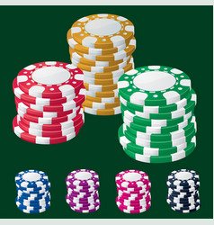 Casino chip stacks vector