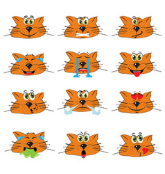 Cat emojis set of emoticons icons isolated vector