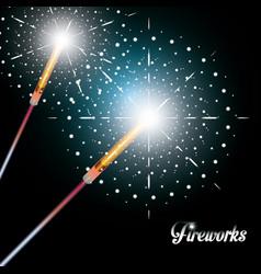 celebration of fireworks night scene icon vector image