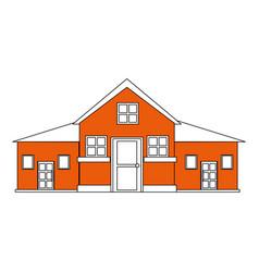 Color silhouette cartoon orange facade big vector