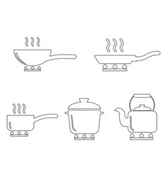 cooking pot pan kettle outline set various vector image