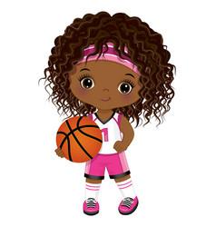 Cute african american girl playing basketball vector