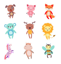 cute colorful soft plush animal toys set of vector image