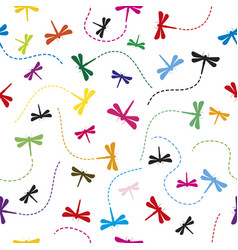 Dragonfly pattern seamless background vector