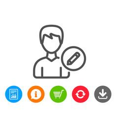 Edit user line icon male profile sign vector