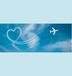 Flight route aircraft in shape vector