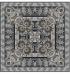 Floral seamless pattern with greek square frames vector