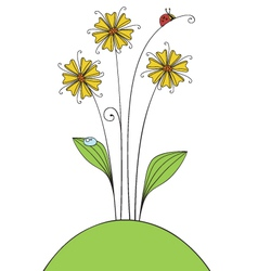 flowers and ladybug vector image