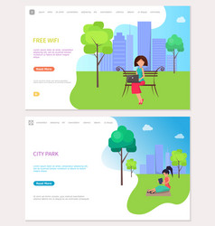 free wife zone and city park web posters woman vector image