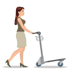 Girl pushing luggage cart with suitcases vector