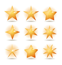 Gold stars icons set vector
