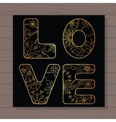 Golden love card on wooden background vector