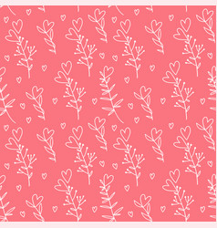 hand drawn hearts on blanches seamless pattern vector image