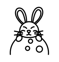 happy mid autumn festival cute rabbit on moon vector image