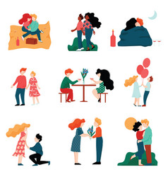 happy young men and women on dates set romantic vector image