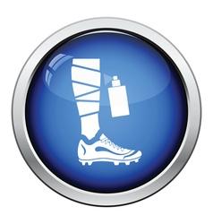 Icon of football bandaged leg with aerosol vector