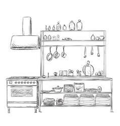Kitchen cupboard furniture sketch vector