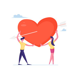 Loving couple share huge red heart pierced with vector