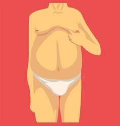 Male torso with fat belly and sagging breast vector