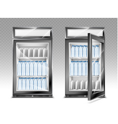 Mini refrigerator with water bottles on shelves vector