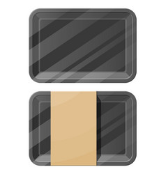 mockup template polystyrene tray container vector image