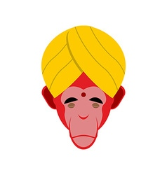 Monkey in turban Monkey yoga Head of red monkeys vector