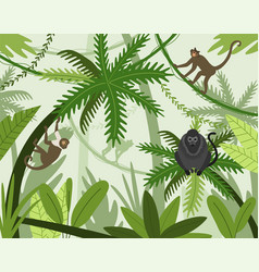 monkeys in jungle cartoon apes climbing trees in vector image