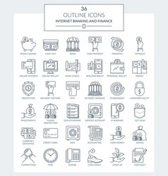 outline icons of banking and finance vector image