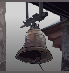 painted the bell attached to the roof vector image