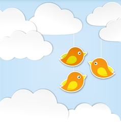 Paper clouds with birds vector image