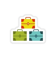 Paper sticker on white background treasure chests vector