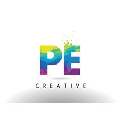 Pe p e colorful letter origami triangles design vector