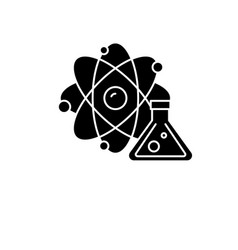 physics and chemistry black icon sign on vector image