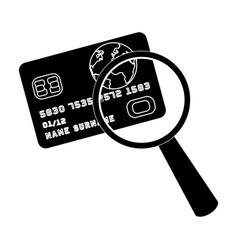 Plastic credit card with a magnifying glass vector