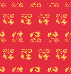 Pollen beekeeping seamless pattern in a linear vector