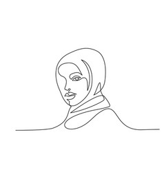 portrait pretty muslim woman one line drawing vector image