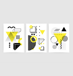 Posters set with bright bold geometric elements vector