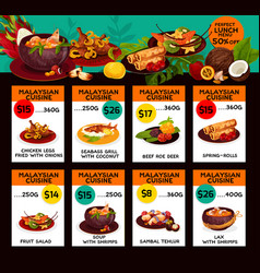 Price menu for malaysian cuisine lunch vector