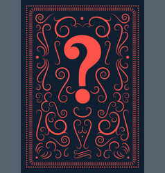 Question mark vintage ornament style poster vector
