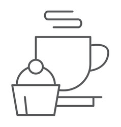 Restaurant thin line icon food and drink cup and vector