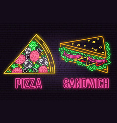 retro neon sandwich and pizza sign on brick wall vector image