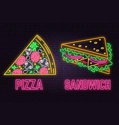 Retro neon sandwich and pizza sign on brick wall vector