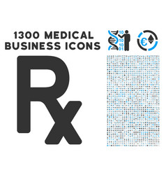 Rx symbol icon with 1300 medical business icons vector