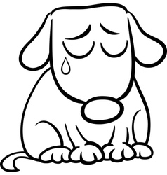 sad dog cartoon coloring page vector image
