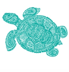 Sea turtle in paisley mehndi style vector image